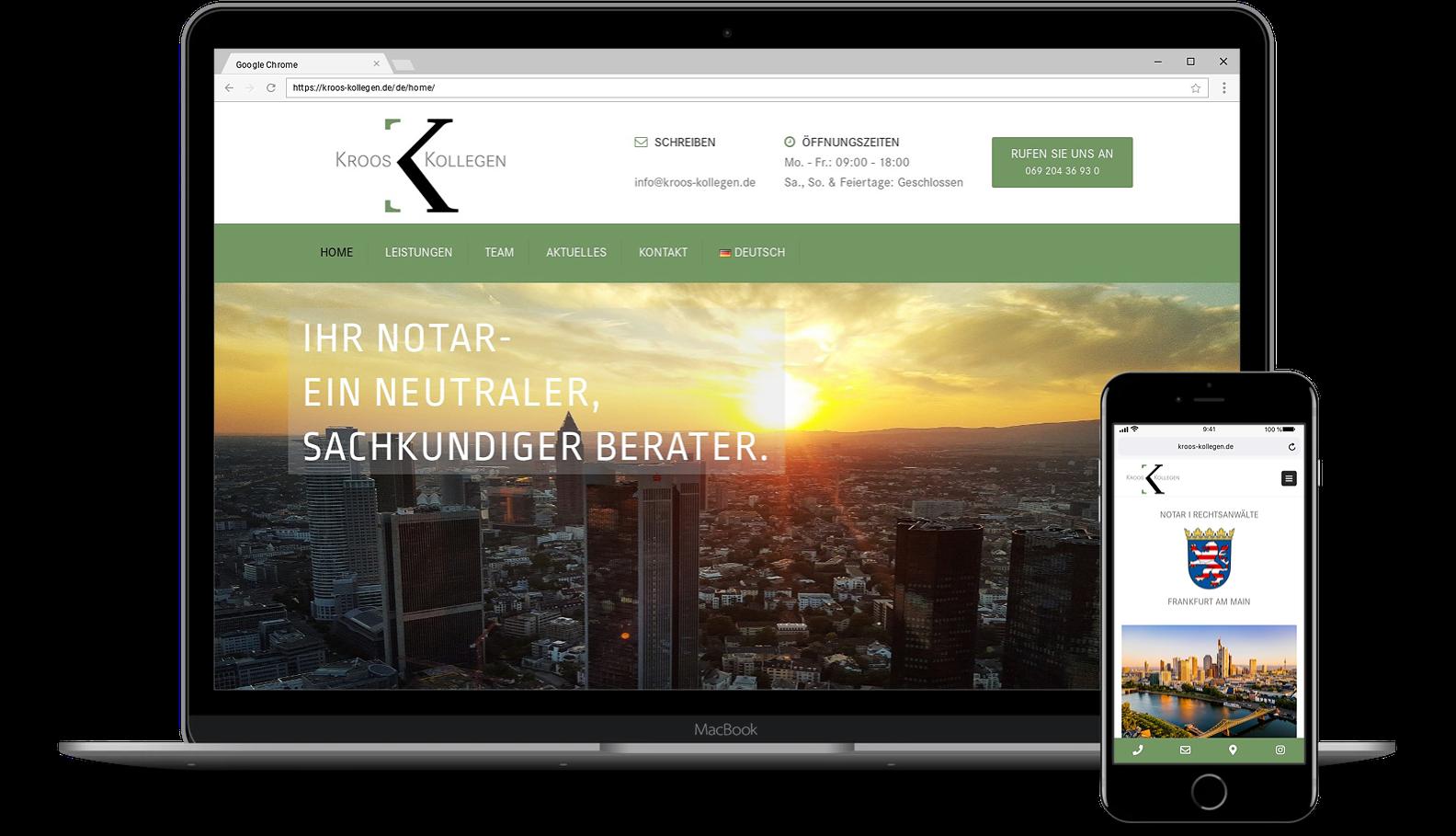 Webdesign für Webseite von Kroos I Kollegen