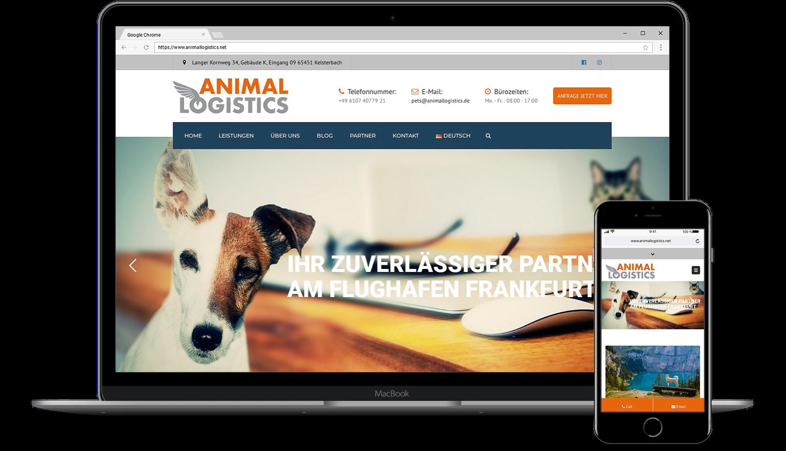 Webdesign für Webseite von Animallogistics