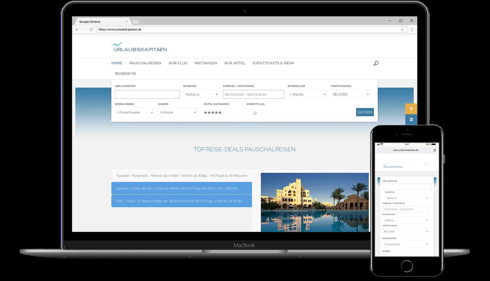 Webdesign für Webseite von Urlaubskapitaen